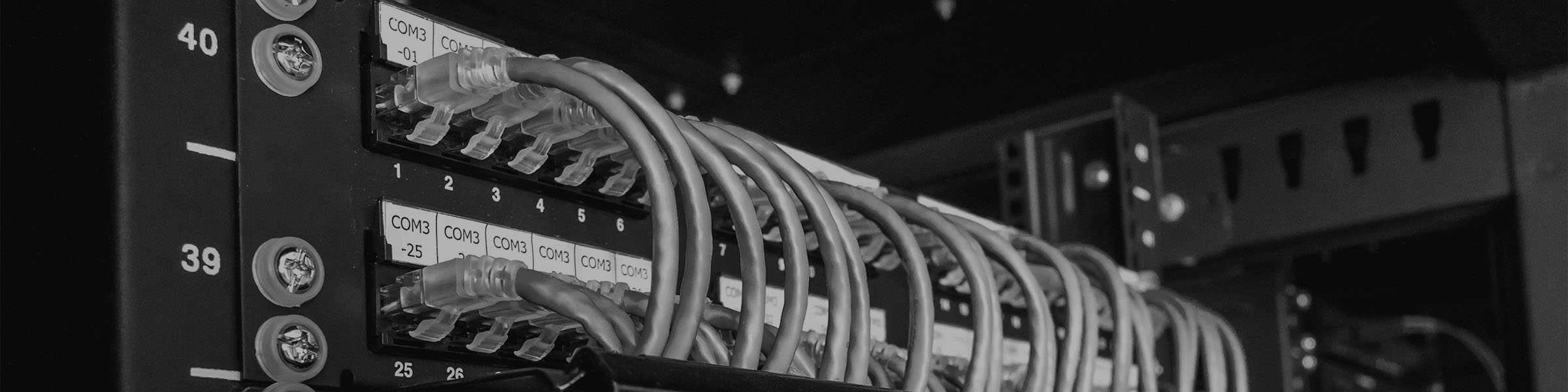 Cables on the bottom of a server