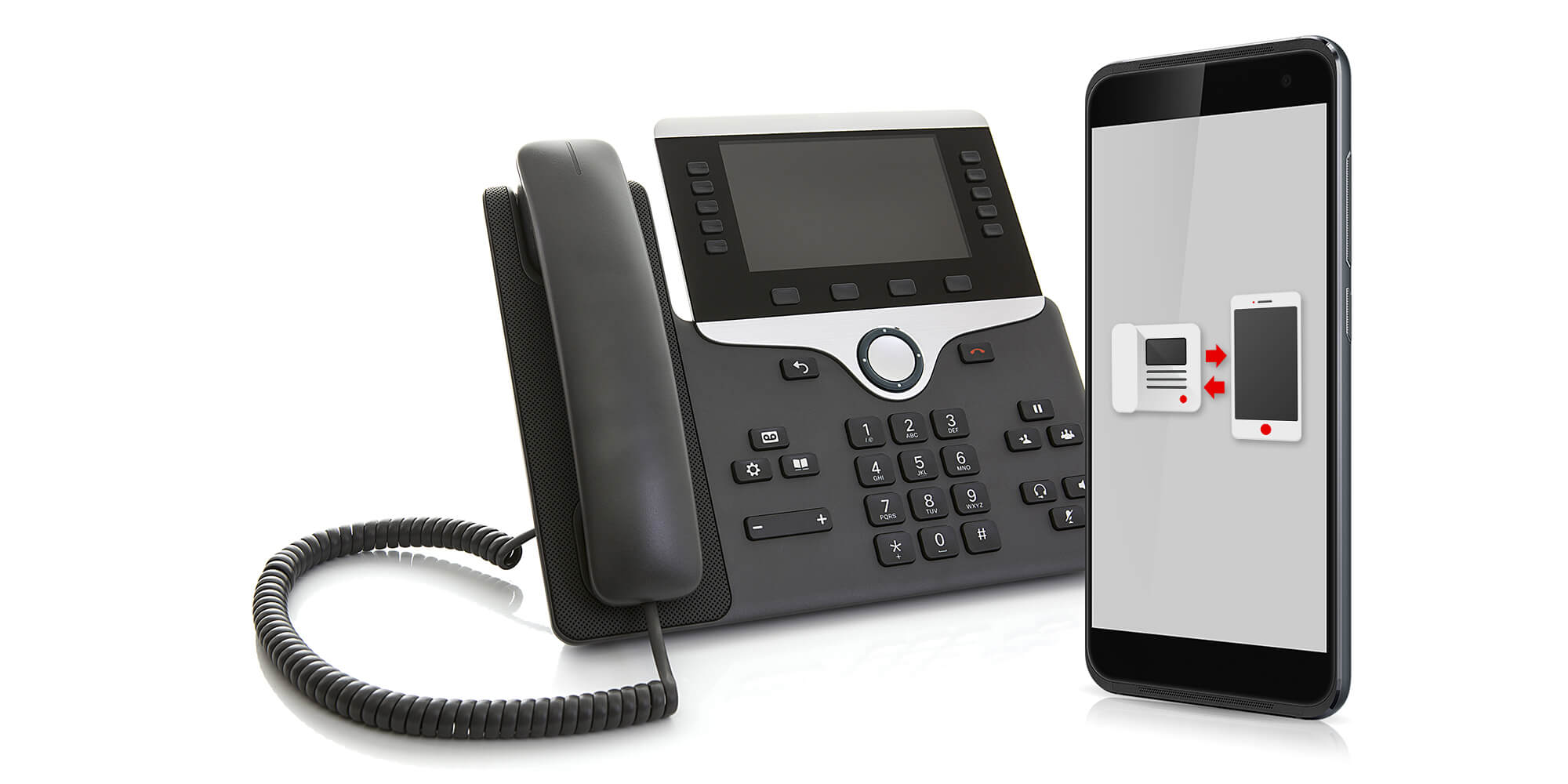 Landline phone beside a mobile phone