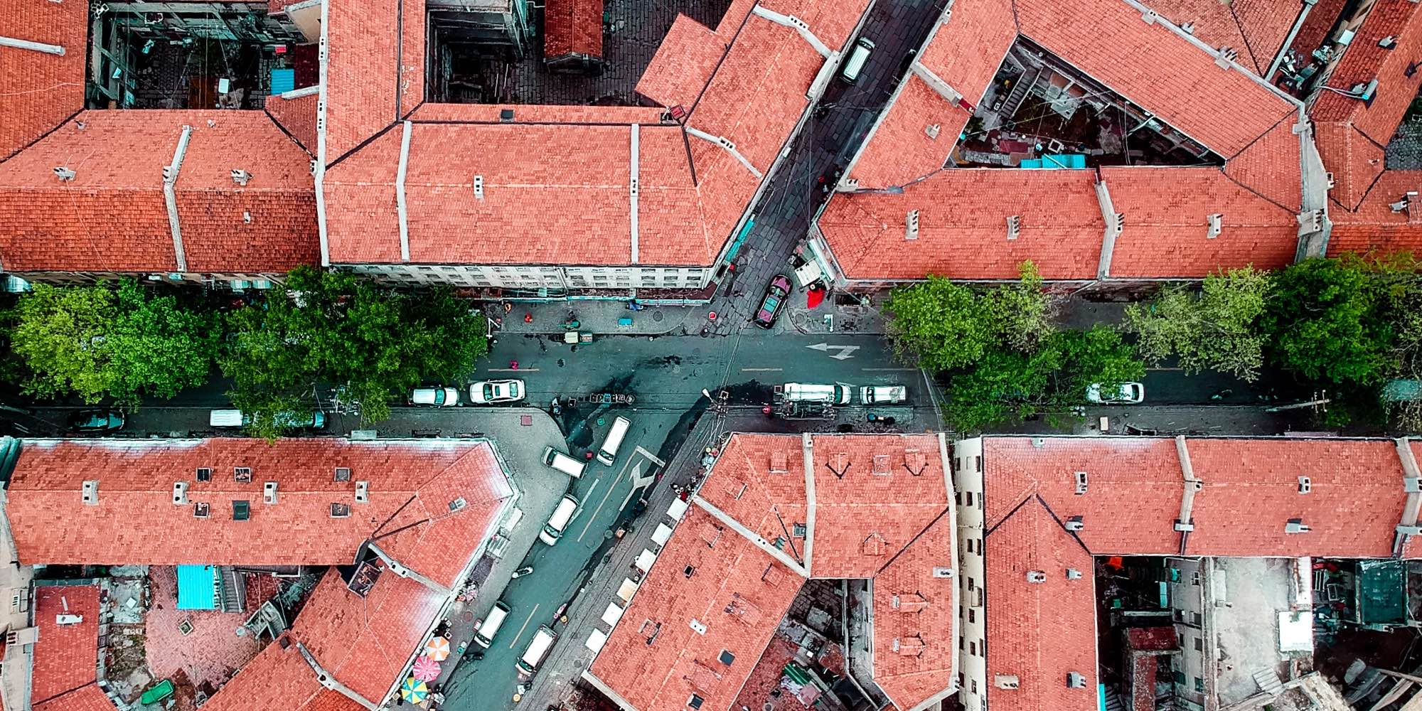 Arial view of a street