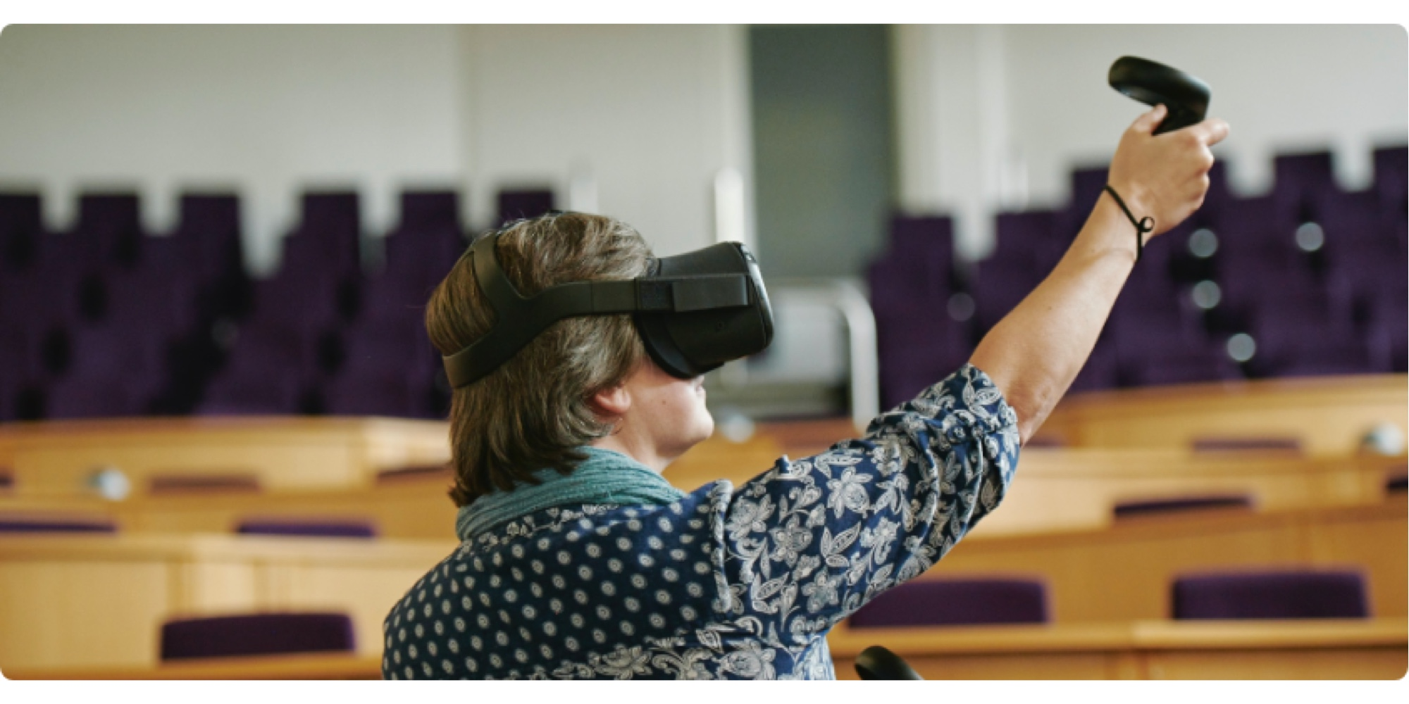 VR headset being used in a lecture theatre