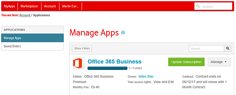 Manage apps Office 365