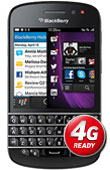 BlackBerry Q10 Black with Vodafone 4G logo