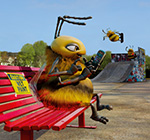 Freebees character sat on bench