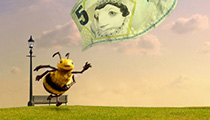 Freebees character chasing cash