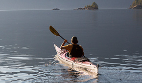 A person canoeing