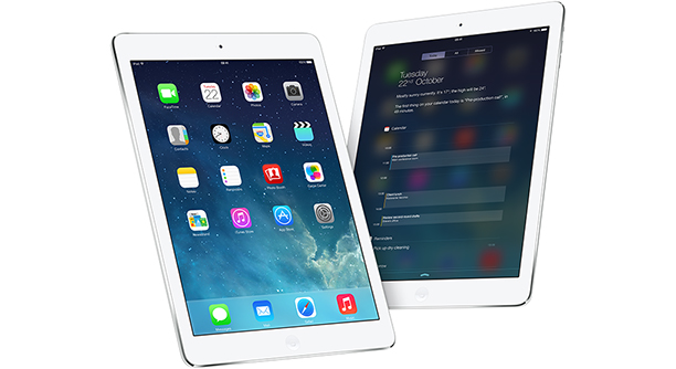 ipad air in a row with ios7