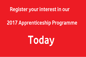 Register your interest in our 2017 apprenticeship programme today