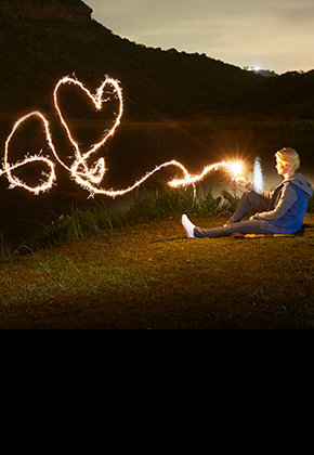 Person with a sparkler