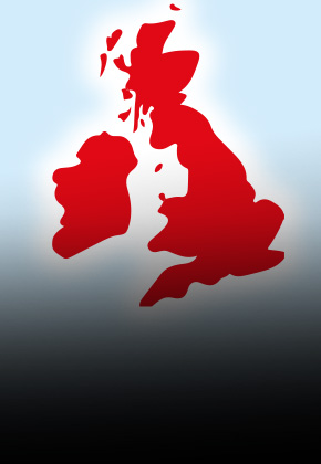 Red map of the UK