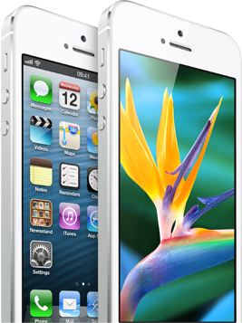 iPhone 5 white showing 4 inch retina display