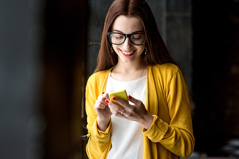 Woman looking at a phone